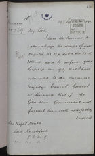 Letter from W. Black, Jamaica, to Lord Knutsford re: Payment of Passage for Treatment in Lunatic Asylum, September 29, 1891