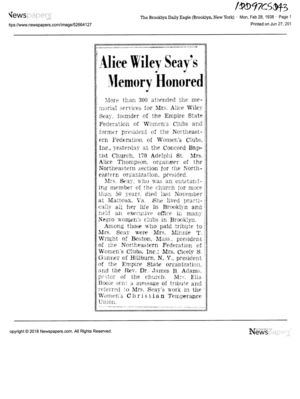 Alice Wiley Seay's Memory Honored