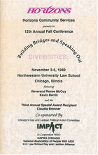 Horizons Community Services Presents Its 12th Annual Fall Conference: Building Bridges and Speaking Out, November 3-5, 1989