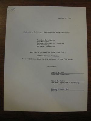 Application for Research Grant, January 25, 1962