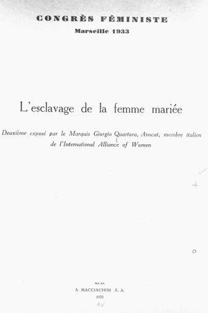 L'Esclavage de la femme mariée