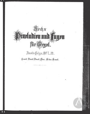 Praeludium et Fuga VII, BWV 537 J 40, C Minor