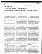 After the World Conference: Special Procedures to Protect Human Rights