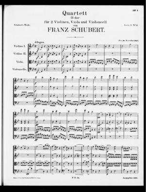 Quartett, D. 36, D. 36, B Flat Major