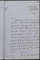 Letter from E. Martinez Sobral to Col. Hayes Sadler re: Imprisonment of Commandante Felix de Leon, April 15, 1889