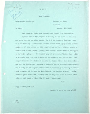 Circular from Rockefeller for Bosworth, Lassiter, Sandoval and Howard re: Victory Tax, January 29, 1943
