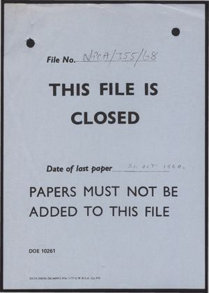 Clean Air Council: File Closure Notice re Work Papers for Meetings 1-11, 1957-1960