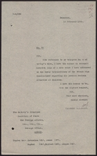 Letter from W. A. Smart to Foreign Office re: Note to  Envoy Extraordinary of French High Commissioner, February 18, 1926