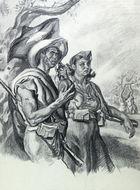 Nationalist militia man and woman in Mallorca