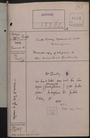 Correspondence Cover Sheet re: Nicaraguan Turtle Fishery Agreement, March 18, 1916