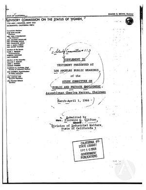 Study Committee no. 1: Public and Private Employment: Supplement to Testimony Presented at Public Hearings