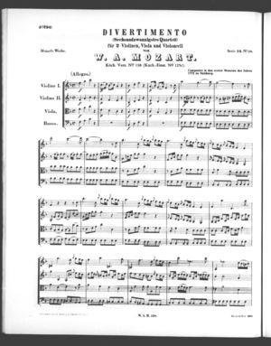 Divertimento (Sechsundzwanzigstes Quartett)