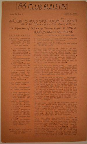 86 Club Bulletin, Vol. 1 no. 2, April 2, 1941