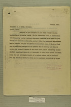 Letters from Newton D. Baker to Gov. W. P. Hobby, Sen. Morris Sheppard and Sen. Chas. A. Culberson,  June 10 and 13, 1919