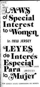 Laws of Special Interest to Women in New Jersey