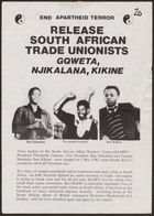 Anti-Apartheid Movement flyer, re: Release South African Trade Unionists Gqweta, Njikalana, Kikine, May 1982
