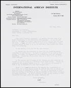 Letter from Ruth Jones, Librarian, IAI, to MG, 4 June 1973