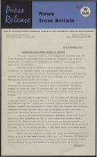Press Release - News from Britain - Second Reading of Immigration Bill on Thursday, November 13, 1961