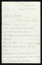 Letter from Godfrey Howitt Anderson to My dear Mother, August 10, 1878