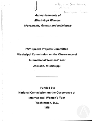 Accomplishments of Mississippi Women: Movements, Groups and Individuals