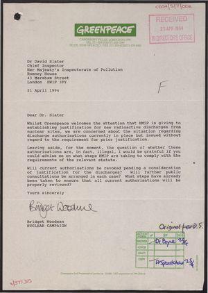 Letter from Bridget Woodman to Dr  David Slater re