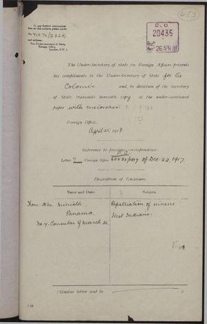 Correspondence re: Repatriation of