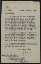 Letter from A. J. W. to J. L. Keith re: Illegitimate Children Whose Fathers Are Among Coloured Troops from the USA, January 15, 1946