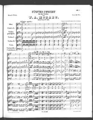 Fünftes Concert für die Violine, K. 219, A Major