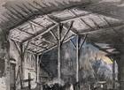 Set design by Pietro Bertoja (1828-1911) for shed of Il Trovatore (The Troubadour), opera by Giuseppe Verdi (1813-1901)