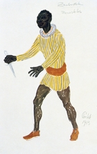 Costume design for Monostatos, 1913. Monostatos, a Moor in the service of Sarastro, the High Priest of Isis and Osiris. 'The Magic Flute' ('Die Zauberflote'), opera by Wolfgang Amadeus Mozart (1756-1791) with libretto by Emanuel Schikaneder (1751-1812) was first produced in Vienna in 1791. The plot has overtones of Freemasonry. Some say Queen of the Night is based on the Empress Maria Theresa (1717-1780). Design for a 1913 production at the Paris Opera.