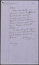 Letter from J. L. A. Simmons to Mr. Hardy, November 16, 1877
