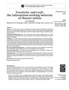 Creativity and Craft: the Information-Seeking Behavior of Theatre Artists