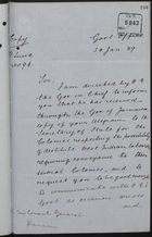 Copy of Letter from Dillon C. Govin, on behalf of Governor in Chief, St. Lucia, to Consul General, Panama, re: Repatriation of Destitute West Indians, January 30, 1889