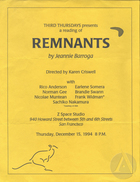 Flyer for a reading of Remnants by Jeannie Barroga, produced at Z Space Studio in San Francisco, CA on December 15, 1994.