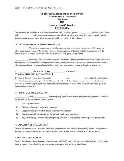 Sample Cooperative Agreement 2 Alexander Street A