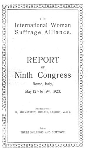 Report of Ninth Congress, Rome, Italy, May 12th to 19th, 1923