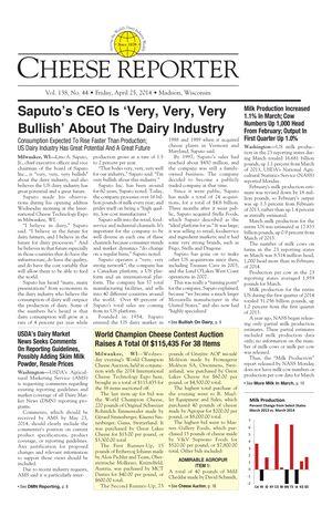 Cheese Reporter, Vol. 138, No. 44, Friday, April 25, 2014