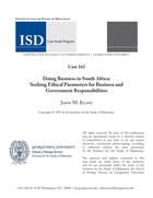 Doing Business in South Africa: Seeking Ethical Parameters for Business and Government Responsibilities