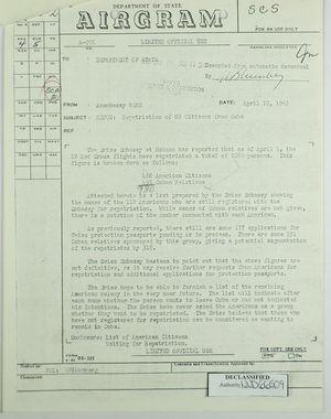 Airgram from U.S. Embassy in Bern to Dept. of State re: Repatriation of U.S. Citizens in Cuba, April 12, 1963