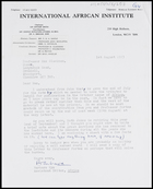 Letter from Barbara Pym, Assistant Editor, Africa, to MG, 1 Aug. 1973