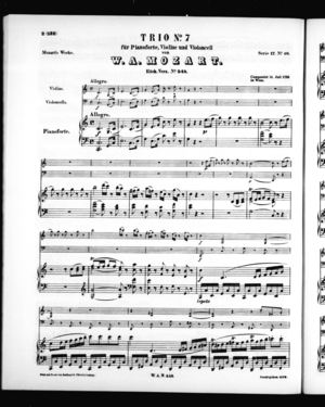 Trio No. 7 für Pianoforte, Violine, und Violoncell,  K. 548