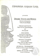 Playbill for Drums, Voices and Words, conceived and directed by Yulisa Amadu Maddy