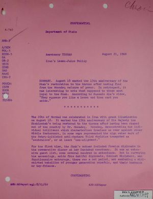 Confidential Memo from Armin H. Meyer to Department of State re: Iran's Lemon-Juice Policy, April 21, 1968