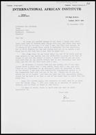 Letter from John Middleton, International Africa Institute, to MG, 30 Sep. 1974