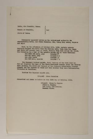 Deposition of Simon Gonzalez, October 14, 1918