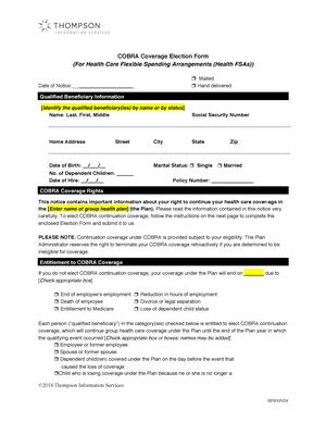 COBRA Coverage Election Form (For Health Care Flexible Spending ...