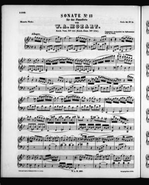 Sonate No. 13 für das Pianoforte (KV. 333)