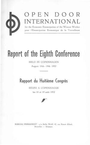 Open Door International: Report of the Eighth Conference, Held in Copenhagen, August 18th - 19th 1952