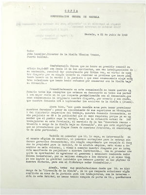 Copy of Letter from Jorge Salazar to John T. Lassiter, July 21, 1943