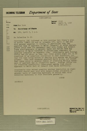 Palestine in [Security Council], April 5, 1954